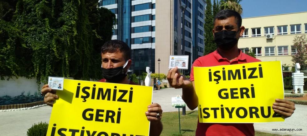 Adana Büyükşehir Belediyesi işçilerinden işimizi geri istiyoruz eylemi