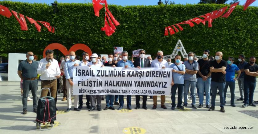 DİSK-KESK-TMMOB-ADANA TABİP ODASI-ADANA BAROSU'dan Filistin Halkı'na destek açıklaması